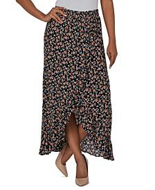 Juniors' Printed Ruffle Maxi Skirt