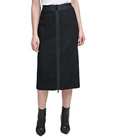 Textured Front-Zip Pencil Skirt