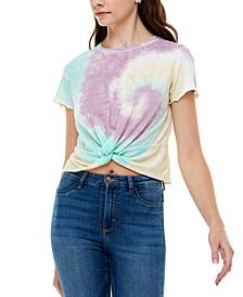Juniors' Tie-Dyed Twist-Front T-Shirt