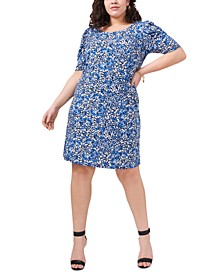 Plus Size Printed Puff-Shoulder Dress