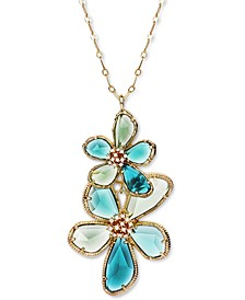 """INC Gold-Tone Pavé & Stone Flower Long Pendant Necklace, 32"""" + 3"""" extender, Created for Macy's"""