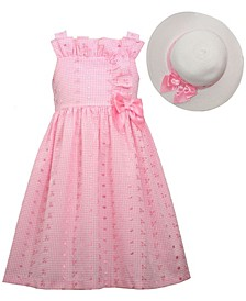 Little Girls Sleeveless Eyelet Waistline Dress with Bodice, Side Bow and Matching Hat
