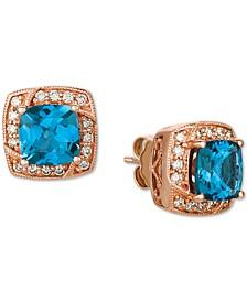 Deep Sea Blue Topaz (3 ct. t.w.) & Nude Diamond (1/3 ct. t.w.) Halo Stud Earrings in 14k Rose Gold