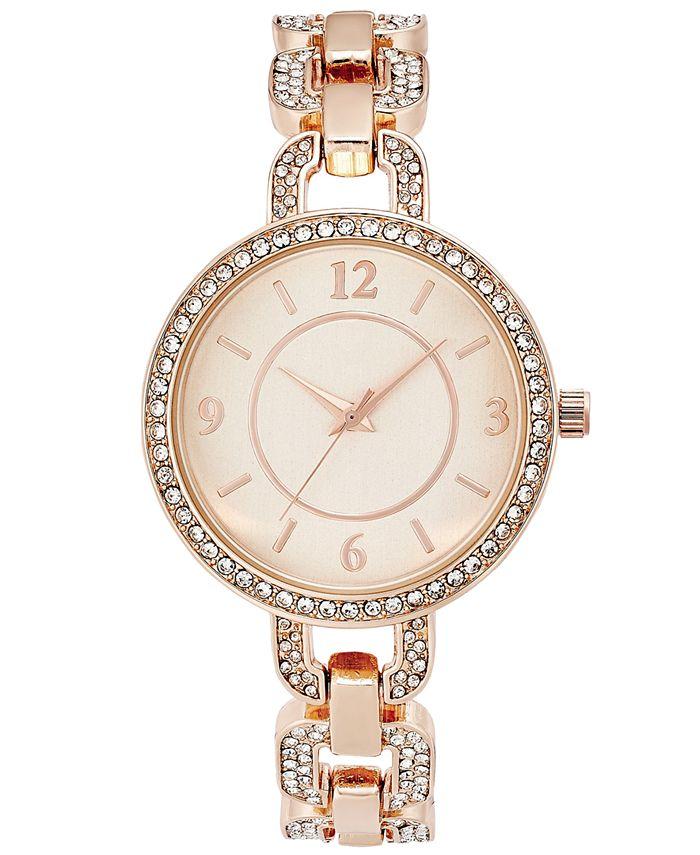 Charter Club - Women's Pavé Rose Gold-Tone Bracelet Watch 33mm
