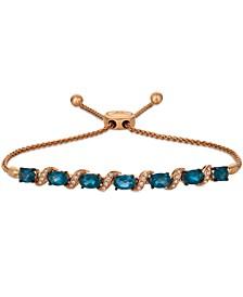 Deep Sea Blue Topaz (2-3/4 ct. t.w.) & Vanilla Diamond (1/10 ct. t.w.) Bolo Bracelet in 14k Rose Gold