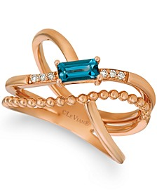 Deep Sea Blue Topaz (3/8 ct. t.w.) & Nude Diamond (1/10 ct. t.w.) Crossover Statement Ring in 14k Rose Gold