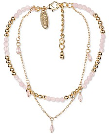 Gold-Tone Beaded Double-Strand Ankle Bracelet, Created for Macy's