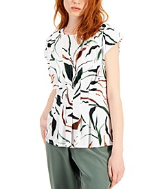 Petite Printed Pleated Top, Created for Macy's