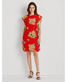 Petite Floral Ruffled Georgette Shift Dress