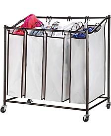 4 Bag Heavy Duty Laundry Hamper Sorter Cart with Wheels