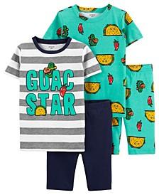 Little Boys Guac Loose Fit Pajamas, 4 Pieces