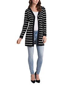 Striped Double-Button Cardigan Sweater