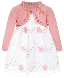 Baby Girls 2-Pc. Embroidered Dress & Shrug Set