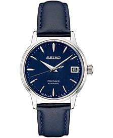Women's Automatic Presage Blue Leather Strap Watch 34mm