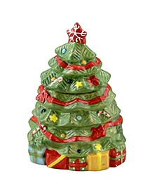 Mirthful Treats Hand Painted Stoneware Christmas Tree Cookie Jar