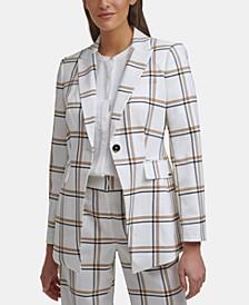 Plaid One-Button Jacket
