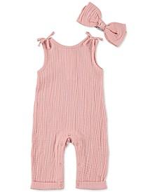 Baby Girls Cotton Muslin Overall & Headband Set