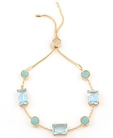 Gold-Tone Crystal Stone Bolo Bracelet