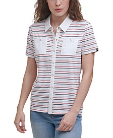 Snap-Front Striped Camp Shirt