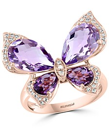 EFFY® Pink Amethyst (5-3/8 ct. t.w.) & Diamond (1/6 ct. t.w.) Butterfly Ring in 14k Rose Gold