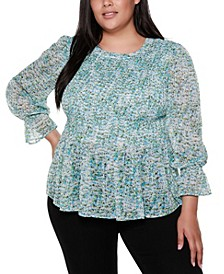 Black Label Plus Size Long Sleeve Smocked Top with Cuff Ruffles