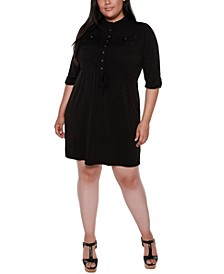 Black Label Plus Size 3/4 Sleeve Button Down Mandarin Collar Dress with Drawstring Waist