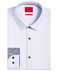 HUGO Men's Slim-Fit Michael Navy Micro Check Print Dress Shirt