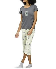 Cat Print Capri Pajama Set