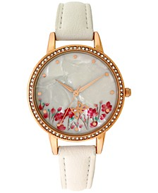 INC Women's White Faux-Leather Strap Watch 35mm, Created for Macy's