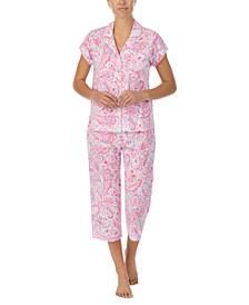 Printed Capri Pants Pajamas Set
