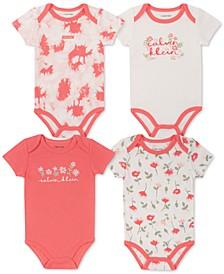 Baby Girls 4-Pack Printed Bodysuits