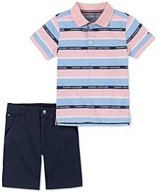 Baby Boys 2-Pc. Signature Stripe Polo & Shorts Set