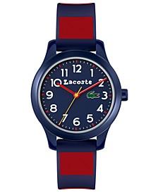Kids' 12.12 Blue & Red Silicone Strap Watch 32mm
