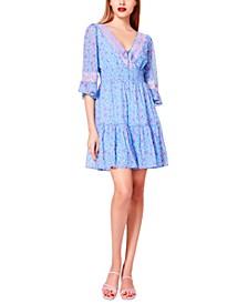 Chiffon Contrast-Lace Fit & Flare Dress