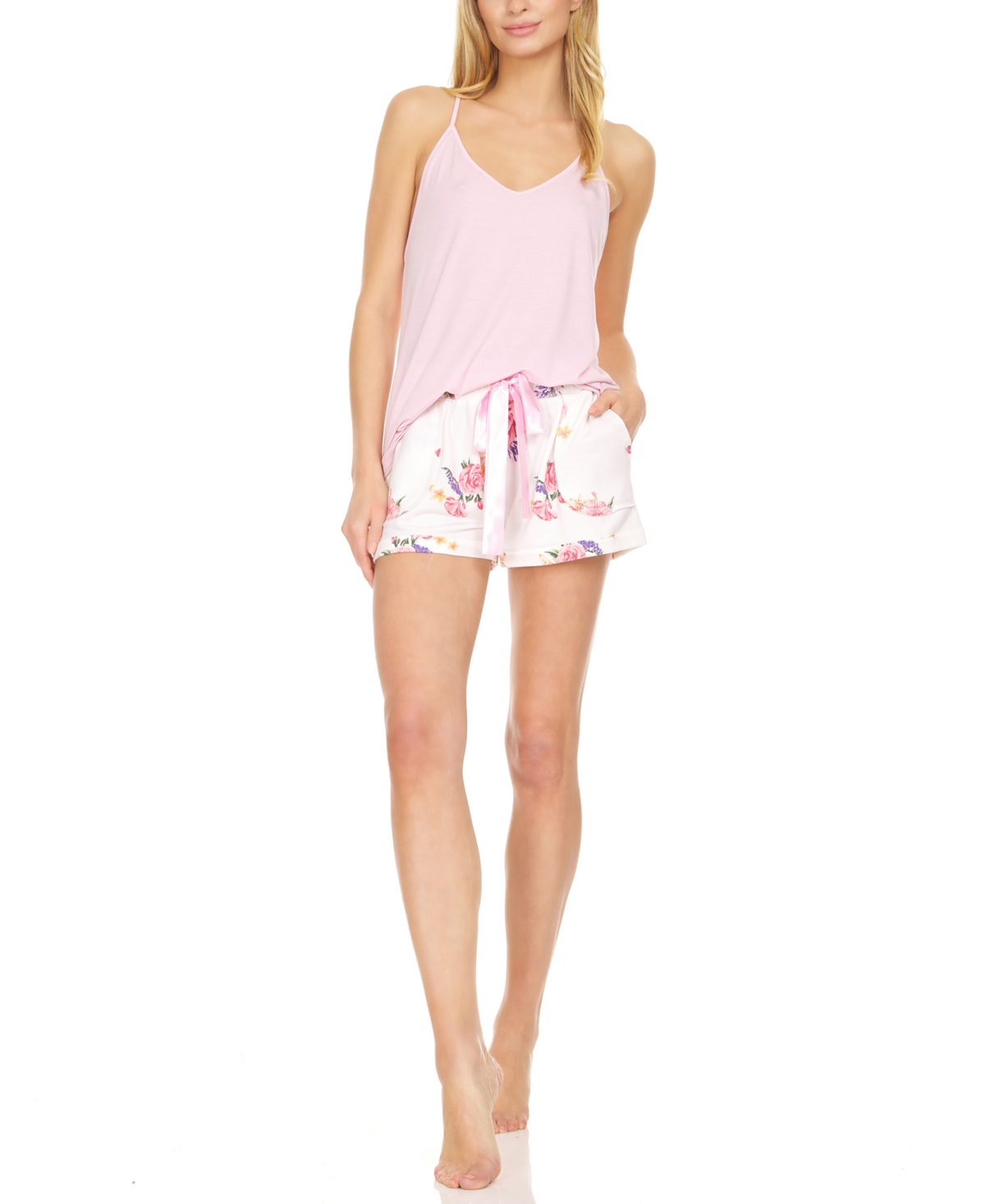 Women's Jillian Solid Knit Tank with French Terry Short