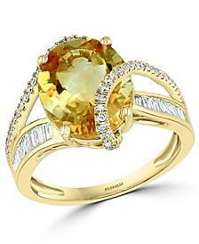 EFFY® Citrine (4-1/3 ct. t.w.) & Diamond (1/3 ct. t.w.) Ring in 14k Gold