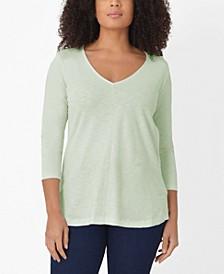 Plus Size 3/4 Sleeve Cotton Swing Top