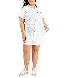 Plus Size Tie-Dye Cotton Denim Dress, Created for Macy's