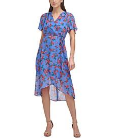 Petite Floral-Print Faux-Wrap Midi Dress