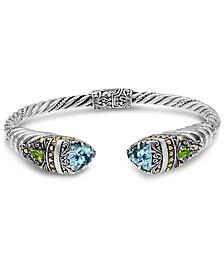 Blue Topaz and Peridot Bali Filigree Hinge Cuff Bracelet in Sterling Silver and 18K Gold