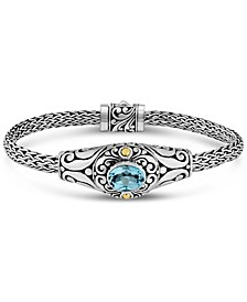 Blue Topaz Bali Heritage Classic with Dragon Bone Oval Chain Bracelet in sterling silver and 18K Gold