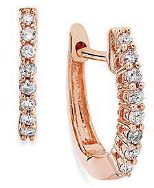 10k Rose Gold Diamond Mini Hoop Earrings (1/8 ct. t.w.)