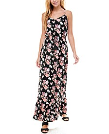 Juniors' V-Neck Printed Maxi Dress