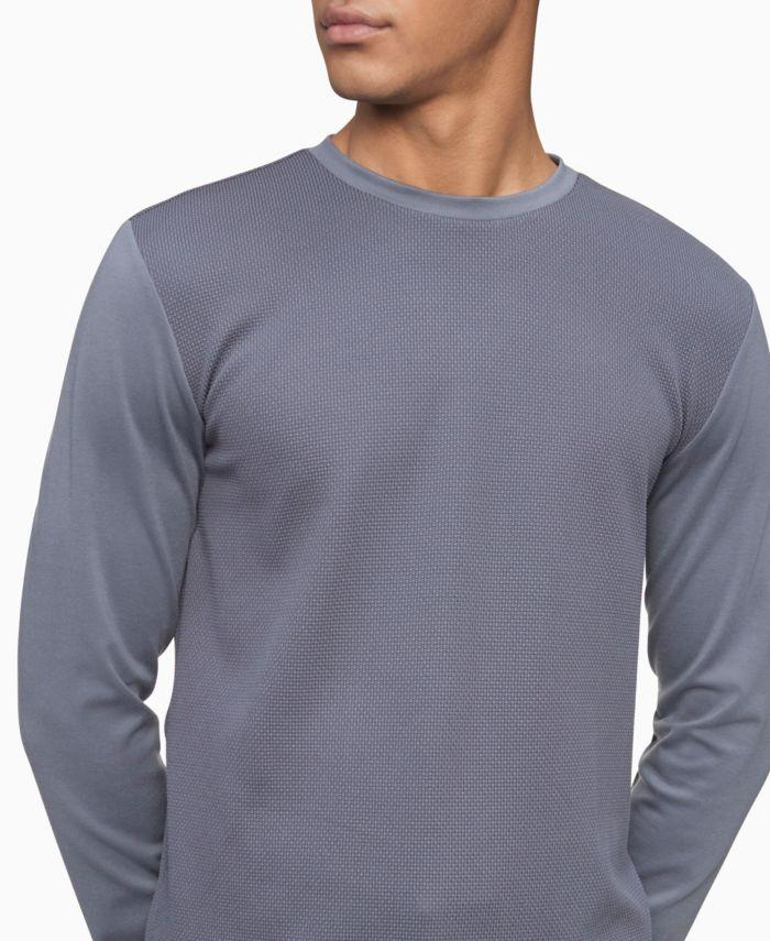 Calvin Klein Men's Mixed Media Waffle-Knit Crewneck T-shirt & Reviews - Casual Button-Down Shirts - Men - Macy's