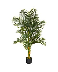 5' Double Stalk Gold-Tone Cane Artificial Palm Tree