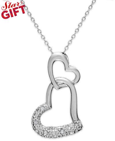 Sterling silver diamond double heart pendant necklace 110 ct sterling silver diamond double heart pendant necklace 110 ct tw aloadofball Choice Image