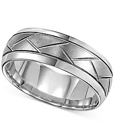 Triton Men's Tungsten Carbide 8mm Diagonal Accent Ring