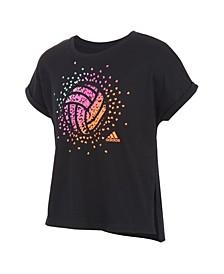 Big Girls Short Sleeve Volleyball Dolman Waist Tee