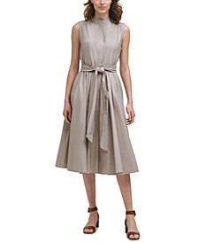 Cotton Belted A-Line Dress