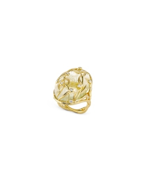 Oval Vine Sterling Silver Ring in Fine Yellow Gold Plate